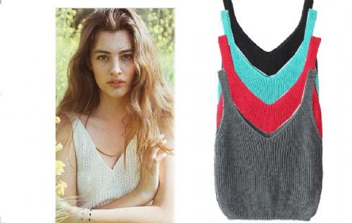 Summer Women Sexy Sleeveless Crochet Knit Crop Top Bralette Ribbed Deep V-neck